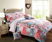 Patchwork Vintage Floral  / Duvet Quilt Cover Bedding Set / Red  / Pink