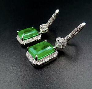 3 Carat Square Green Emerald & Diamond 18K White Gold Finish Earrings Gorgeous
