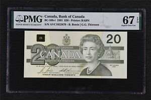 1991 Canada Bank of Canada BC-58b-i 20 Dollars PMG 67 EPQ Superb Gem UNC