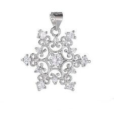 1PC Beautiful 925 Sterling Silver Cubic Zirconia Nice Snowflake Necklace Pendant