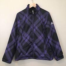 Zeroxposur Womens Coat L Purple Black Reversible Insulated Winter Zip Jacket