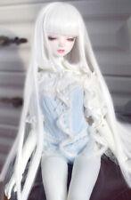 "1/4 7-8"" 18-20cm Bjd Doll Hair Wig Long White Curls Straight Iron Perm Skill G-4"