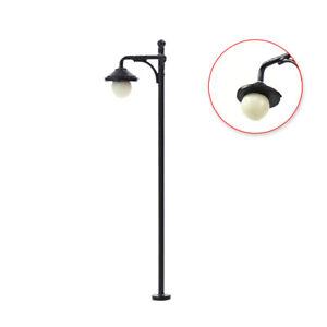 10pcs Model Railway 1:87 Round Lamp Post Street Lights HO Scale Warm LED 2.56In