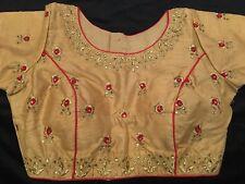 "38"" 40"" 42"" M Silk Saree Blouse Indian Bollywood Sari Top Choli Beige Gold Y11"