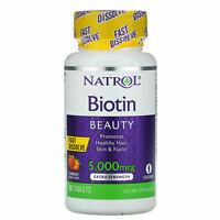 Natrol Biotin Fast Dissolve-Strawberry 5000mcg 90 Tabs Healthy Nail hair skin