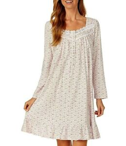 Eileen West Floral Bud Print Long Sleeve Cotton Jersey Knit Short Nightgown M