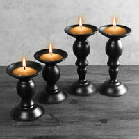 2Pcs Carved Pillar Candle Holders Candlesticks Tea Light Stand Wedding Decor  ❤