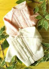 """BABY CARDIGAN & SWEATER/JUMPER KNITTING PATTERN 18-22"""" CHEST EASY DK QUICK KNIT"""