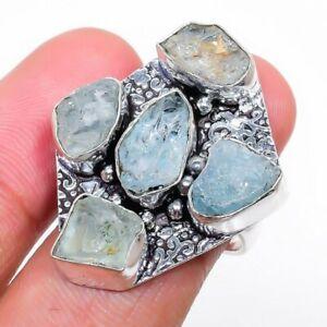 Aquamarine Gemstone Handmade 925 Sterling Silver Jewelry Ring Size 6.5