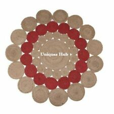 Rug 100% Natural Jute Braided Style Round Reversible Modern Rug Rustic Look Rugs
