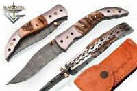 HAND MADE DAMASCUS BLADE FOLDING HUNTING KNIFE WITH REAL LEATHER SHEATH WT 6014R