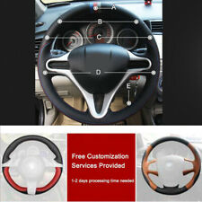 Custom made PU Leather Steering Wheel Cover Stitch on Wrap For Honda Fit 09-2013