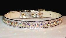 "Metallic jewel Dog Collars Rhinestone genuine AB Crystal Bling! 3/8"" wide vixen"