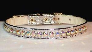"Metallic Dog Collars Rhinestone in genuine AB Crystal Jewel Bling! 3/8"" Vixen"