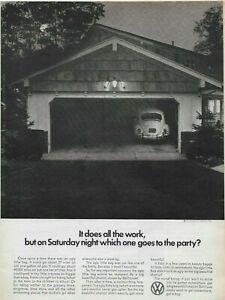 1966 Volkswagen VW Beetle Bug Does All The Work Garage Original Vintage Print Ad