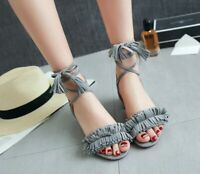 Summer Women Sandal Block Heels Open Toe Lace Up Tassel Slingbacks Elegant Shoes