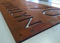 Corten Steel House Sign Rustic Look Unique Custom Made Laser Cut Rusted Steel