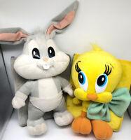 VTG 1996 Looney Tunes Plush HugMe Books Baby Bugs Bunny & Tweety WARNER BROS