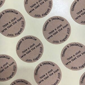 40 Take a shot we've tied the knot brown Kraft confetti wedding stickers
