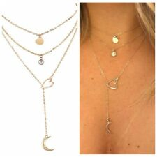 Pendant Women Girl Chain Necklace Party Hollow Heart Love Moon Long Boho Elegant