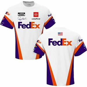 Denny Hamlin 2021 Checkered Flag Sports #11 Fed Ex Sublimated Pit Crew Tee FREE