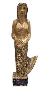 Vintage Carved Wood Folk Art Mermaid Sign, Maritime