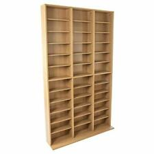 Dvd Cd Games Multimedia Wall Storage Unit Adjustable Cabinet Rack Shelves Maple