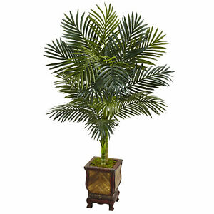 Nearly Natural 4.5' Golden Cane Palm Tree in Wooden Decorated Planter Home Decor