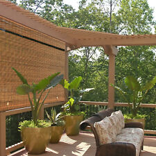 Cordless Roll Up Blind Sun Shade Outdoor Patio Deck UV Protection Brown