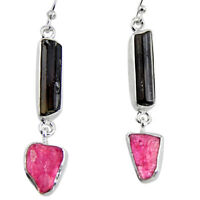 black friday sale 16.85cts natural black tourmaline rough dangle earrings p94862