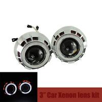 "3.0"" Car Headlights HID Bi-Xenon Projector Lens Kit Halo Angel Eye Cnlight Lamp"