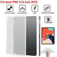 For Apple iPad Pro 11/12.9 in  Clear Slim Fit Soft TPU Silicone Back Case Cover