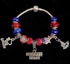 Military Inspired European Styled Bracelet- MILITARY MOM Silvertone 17cm