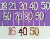 DIAMANTE NUMBERS  cake PICK topper bling  birthday sugarcraft craft SPARKLY