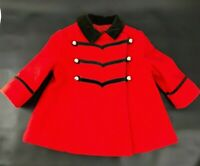 Vtg Rothschild Toddler Girls Size 18-24 months Winter Wool Coat Red/Black