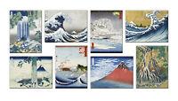 Quadri hokusai 8 Pezzi Stampa su Tela con Telaio in Legno arredo arte museo