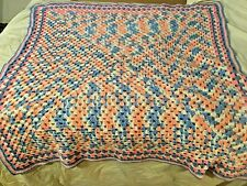 "Hand Crocheted Pink and Blue Baby Blanket 42""x40"""