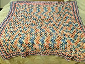 """Hand Crocheted Pink and Blue Baby Blanket 42""""x40"""""""