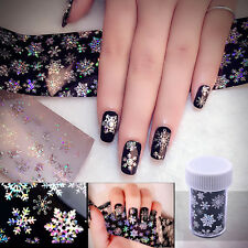 3D Nail Art Water Transfer Foils Sticker Glitter Snowflake Design Paper Tips