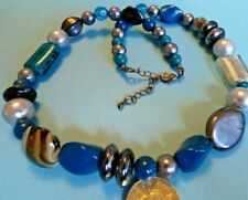 sc9--REALLY LOVELY & A BIT QUIRKY SMOKEY GREY & TEAL BLUE BEADS NECKLACE