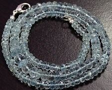"Natural Gemstone AQUAMARINE 5-8 mm Faceted Ronelle Beads 19"" NECKLACE 125 Cts"
