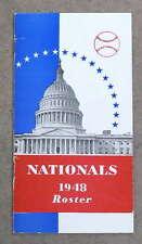 WASHINGTON NATIONALS SENATORS BASEBALL MEDIA GUIDE ROSTER - 1948 - NEAR MINT