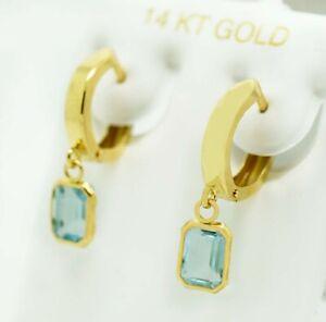 GENUINE 1.88 Cts AQUAMARINE DANGLING HUGGIE EARRINGS 14K GOLD * FREE Appraisal