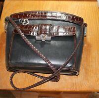Brighton Handbag Purse Rigid Aligator Design Braided Shoulder Strap Label+Heart