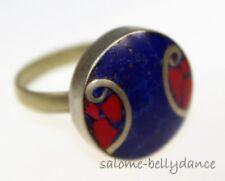 Tibet Ring mit Koralle und Lapis, Tribal Ring, Asiatischer Schmuck, 17 mm