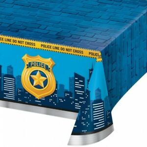 """Police Party Plastic Banquet Tablecloth 54"""" x 102"""" Birthday Party Tableware"""