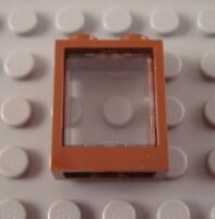 New LEGO Reddish Brown 1x2x2 Flat Front Window Part with Glass