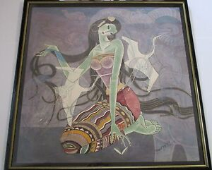 LARGE YUEN CHINESE MODERNIST YUNNAN PAINTING CUBISM MYTHOLOGICAL ABSTRACT FIGURE