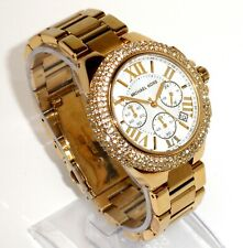 MICHAEL KORS $295 WOMEN'S DAZZLING CRYSTALS GOLD SUPER FANCY CHRONO WATCH MK5756