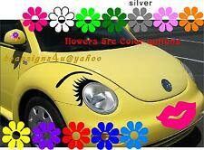 EYELASHES EYEBROW Any headlight HOT PINK LIPS volkswagen Car VW Beetle black USA